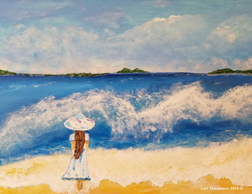 Painting of Girl standing in surf wearing a sun hat