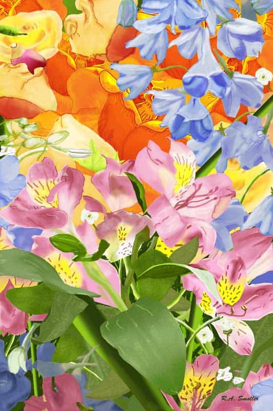 Multi-colored flowers - by R.A. Smoller