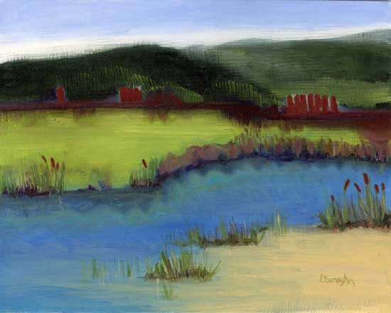 Sunrise over Russian River - painting by Lois Donaghey