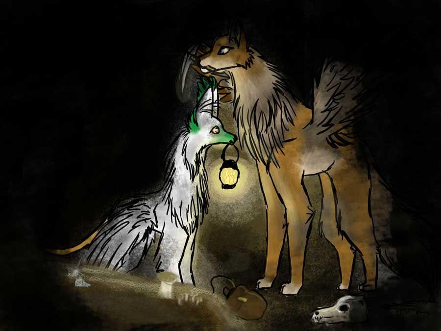 Illustration of two dogs in the night